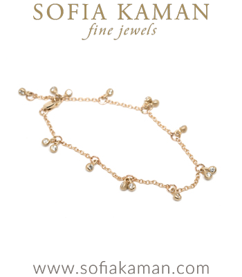 Ethically Sourced Diamond Cherry Bohemian Bridal Bracelet designed by Sofia Kaman handmade in Los Angeles