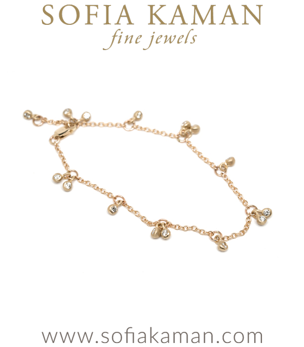 Ethically Sourced Diamond Cherry Bohemian Bridal Bracelet designed by Sofia Kaman handmade in Los Angeles using our SKFJ ethical jewelry process.