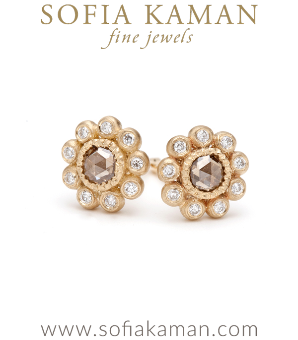 Rose Cut Champagne Diamond Flower Cluster Bohemian Bridal Earring Studs designed by Sofia Kaman handmade in Los Angeles
