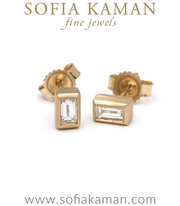 14K Matte Gold Diamond Baguette Stud Earrings Great Gift Idea or Perfect for Everyday designed by Sofia Kaman handmade in Los Angeles using our SKFJ ethical jewelry process.