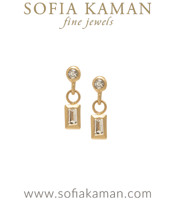 Tiny Gold Baguette Diamond Dangle Pod Earrings for Unique Engagement Rings designed by Sofia Kaman handmade in Los Angeles