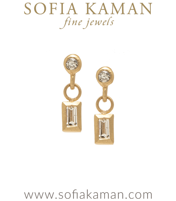 Tiny Gold Baguette Diamond Dangle Pod Earrings for Unique Engagement Rings designed by Sofia Kaman handmade in Los Angeles using our SKFJ ethical jewelry process.