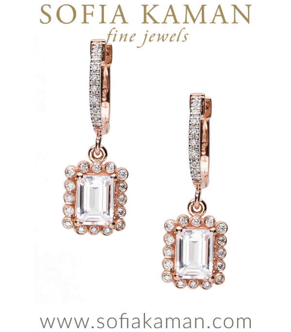 Our most brilliant Regency earrings nod to tradition with a contemporary twist! A lovely emerald cut morganite is highlighted in a diamond studded (0.30ctw) 14K rose gold picture frame setting and dangles gracefully from a diamond huggie hoop. Feminine, sparkly, and full of glamour! Also available with tourmaline or aquamarine centers.Please visit our Bespoke page to inquire. made in Los Angeles