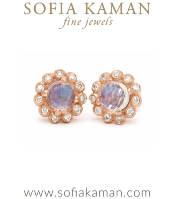 Gold Bubble Diamond Halo Moonstone Bohemian Stud Earrings designed by Sofia Kaman handmade in Los Angeles