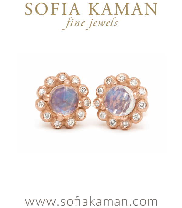 Gold Bubble Diamond Halo Moonstone Bohemian Stud Earrings Designed By Sofia N Handmade In Los Angeles