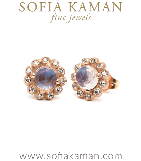 Moonstone Diamond Accent Bubble Halo Earrings