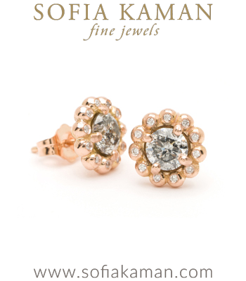 Gold Bubble Diamond Halo Salt and Pepper Diamond Bohemian Stud Earrings designed by Sofia Kaman handmade in Los Angeles
