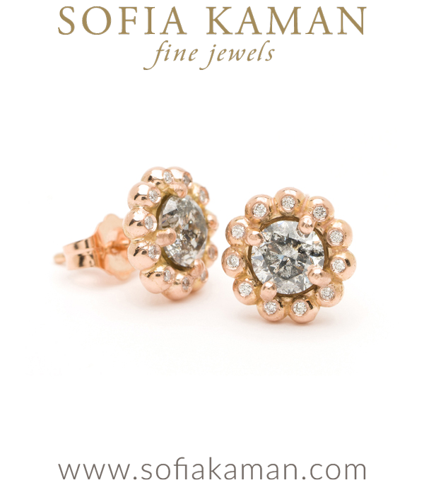 Gold Bubble Diamond Halo Salt and Pepper Diamond Bohemian Stud Earrings designed by Sofia Kaman handmade in Los Angeles using our SKFJ ethical jewelry process.