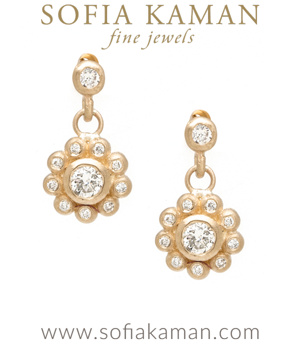 Bezel Set Old European Cut Diamond Center Diamond Halo Dangling Boho Bridal Flower Earrings designed by Sofia Kaman handmade in Los Angeles using our SKFJ ethical jewelry process.