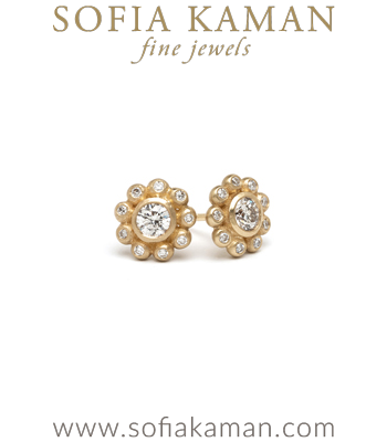 Rose Cut Diamond Flower Cluster Bohemian Bridal Stud Earrings designed by Sofia Kaman handmade in Los Angeles