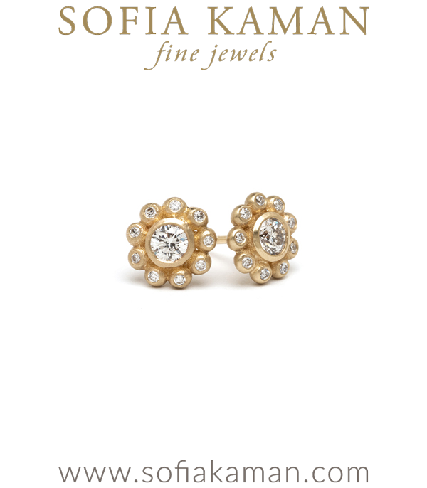 Rose Cut Diamond Flower Cluster Bohemian Bridal Stud Earrings designed by Sofia Kaman handmade in Los Angeles using our SKFJ ethical jewelry process.