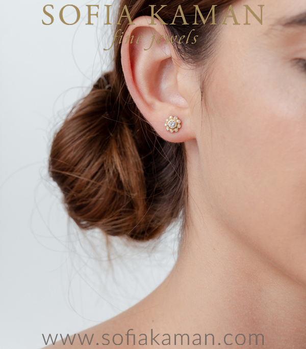 Gold And Diamond Flower Cluster Bridal Earrings