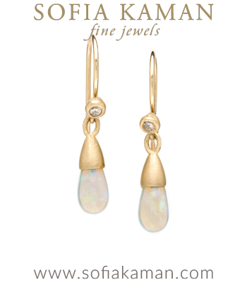 Gold Boho Diamond Accent Australian Opal Drop Earrings designed by Sofia Kaman handmade in Los Angeles