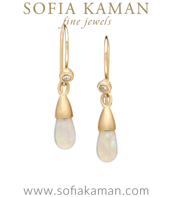 Gold Boho Diamond Accent Australian Opal Drop Earrings designed by Sofia Kaman handmade in Los Angeles using our SKFJ ethical jewelry process. This piece has been sold and is in the SK Archive.