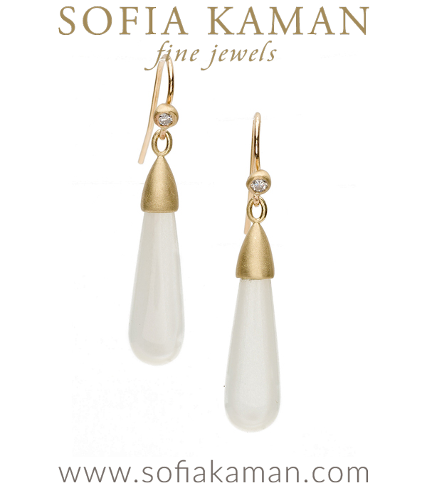 Classic Gold Diamond Pod Moonstone Gem Drop Earrings designed by Sofia Kaman handmade in Los Angeles