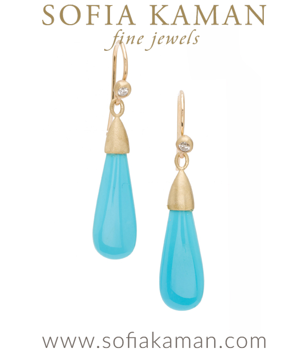 Classic Gold Diamond Pod Turquoise Gem Drop Earrings designed by Sofia Kaman handmade in Los Angeles using our SKFJ ethical jewelry process. This piece has been sold and is in the SK Archive.