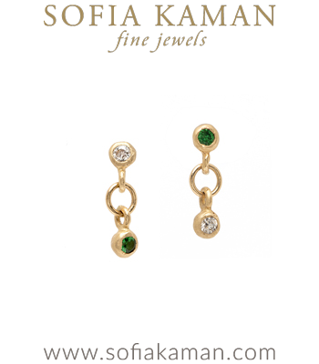 Mismatched Gold Diamond Emerald Earrings for Unique Engagement Rings designed by Sofia Kaman handmade in Los Angeles