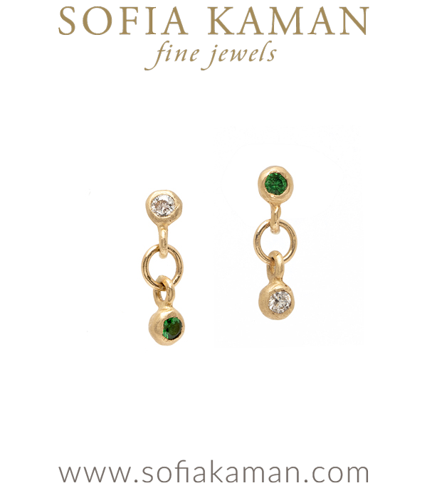 Mismatched Gold Diamond Emerald Earrings for Unique Engagement Rings designed by Sofia Kaman handmade in Los Angeles using our SKFJ ethical jewelry process.
