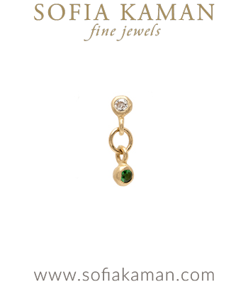 Single Gold Diamond Emerald Earring for Unique Engagement Rings designed by Sofia Kaman handmade in Los Angeles