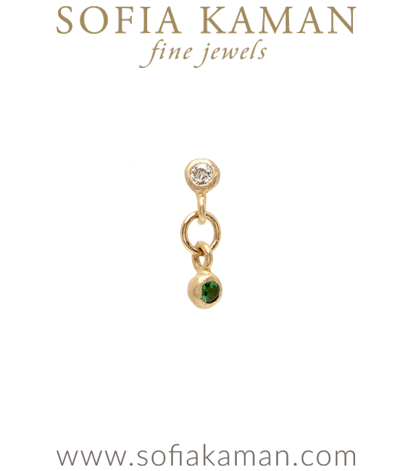 Single Gold Diamond Emerald Earring for Unique Engagement Rings designed by Sofia Kaman handmade in Los Angeles using our SKFJ ethical jewelry process.