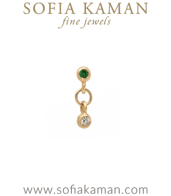 Single Gold Emerald Diamond Stud Drop Earring for Unique Engagement Rings designed by Sofia Kaman handmade in Los Angeles