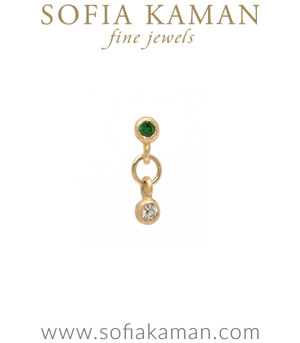 Single Gold Emerald Diamond Stud Drop Earring for Unique Engagement Rings designed by Sofia Kaman handmade in Los Angeles using our SKFJ ethical jewelry process.