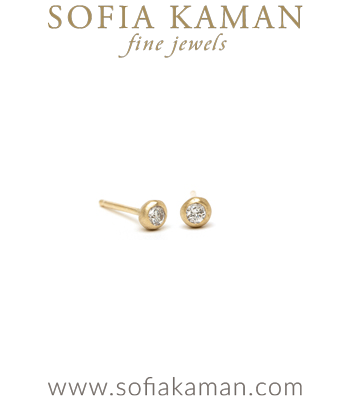 Tiny Gold Pod Diamond Stud Earrings for Engagement Rings designed by Sofia Kaman handmade in Los Angeles