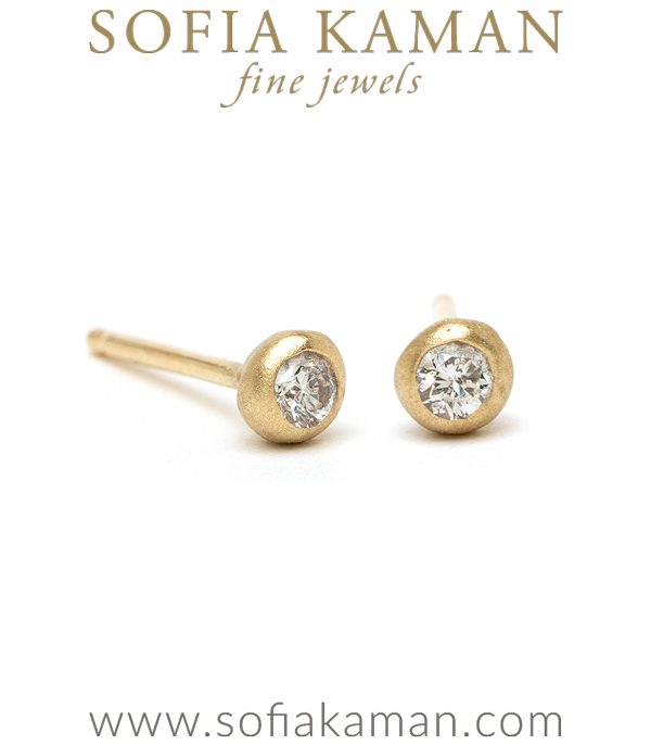 Tiny Gold Pod Diamond Stud Earrings for Engagement Rings designed by Sofia Kaman handmade in Los Angeles using our SKFJ ethical jewelry process.