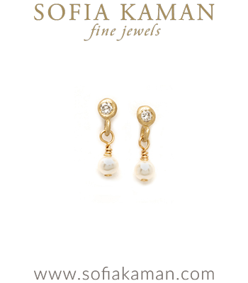 Tiny Pearl Diamond Drop Bridal Earrings for Boho Engagement Rings designed by Sofia Kaman handmade in Los Angeles