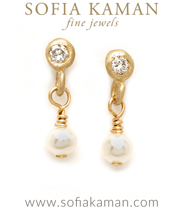Tiny Pearl Diamond Drop Bridal Earrings for Boho Engagement Rings designed by Sofia Kaman handmade in Los Angeles using our SKFJ ethical jewelry process.