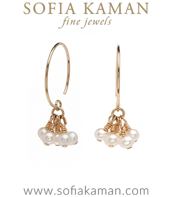 Tiny Pearl Tassle Earrings perfect for Unique Engagement Rings designed by Sofia Kaman handmade in Los Angeles