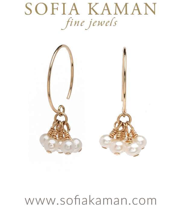 Tiny Pearl Tassle Earrings perfect for Unique Engagement Rings designed by Sofia Kaman handmade in Los Angeles using our SKFJ ethical jewelry process.