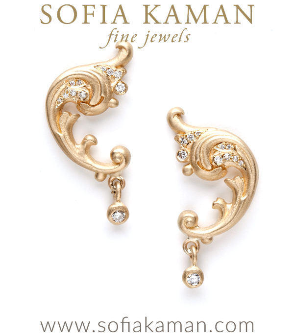 Glama-rama! These dramatic earrings reflect the romance and nostalgia as well as the natural forms and fluid lines that define the Regency collection. Swirls of diamonds (0.12 ctw) and curlicues accent this special piece. We are in LOVE! designed by Sofia Kaman handmade in Los Angeles