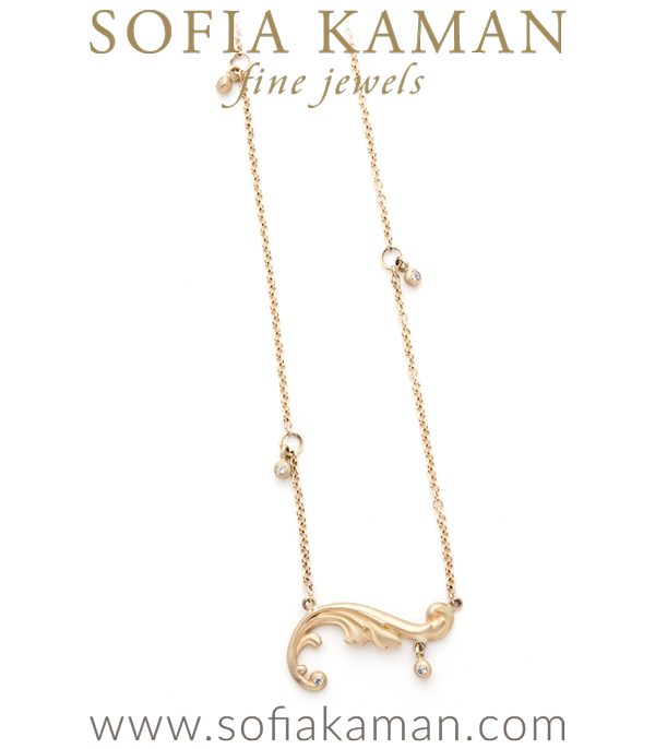 Gold Diamond Accent French Scroll Pendant Necklace
