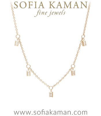 20 Inch Gold Chain 5 Dangling Bezel Set Baguette Diamond Boho Bridal Necklace that is sophisticated enough to go with most Engagement Ring Styles designed by Sofia Kaman handmade in Los Angeles