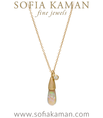 Gold Boho Diamond Accent Australian Opal Drop Necklace designed by Sofia Kaman handmade in Los Angeles