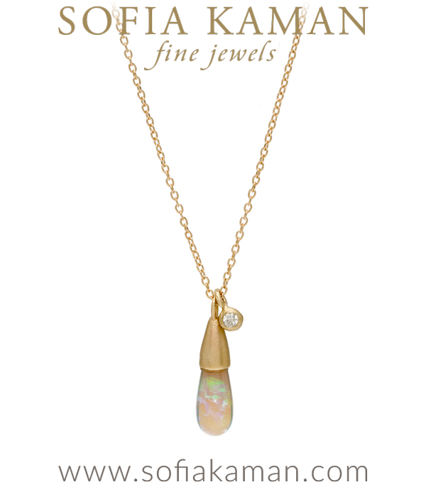 Gold Boho Diamond Accent Australian Opal Drop Necklace designed by Sofia Kaman handmade in Los Angeles using our SKFJ ethical jewelry process. This piece has been sold and is in the SK Archive.