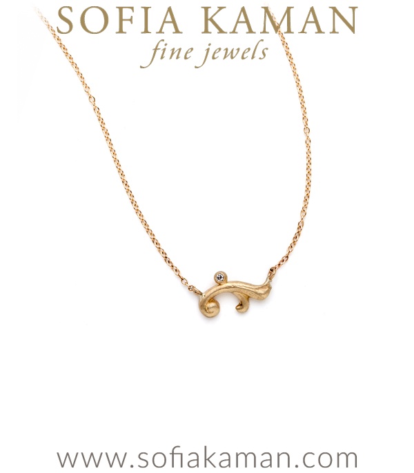 Gold Petite French Scroll Necklace designed by Sofia Kaman handmade in Los Angeles