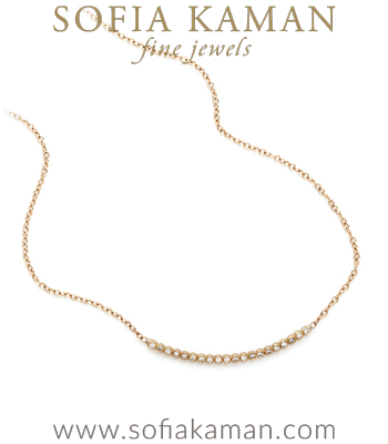 Boho Gold Bubble Bar Diamond Layering Bridal Wedding Necklace designed by Sofia Kaman handmade in Los Angeles