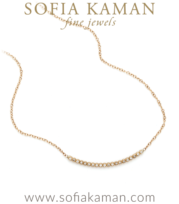 Add this one to your must-have list! This bubble bar necklace is one of our latest greatest every day layering pieces. A perfect row of twinkling diamonds (0.18 ctw) adds a perfect touch to any outfit. Simply and chic alone or mixed in with your favorites. 18″ designed by Sofia Kaman handmade in Los Angeles