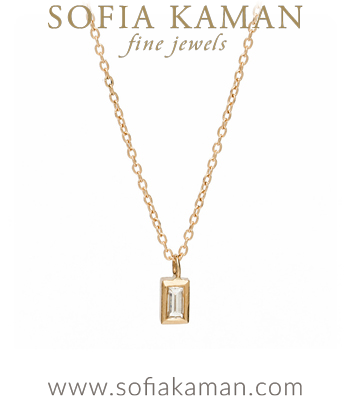 Mini Baguette Bezel Diamond Necklace designed by Sofia Kaman handmade in Los Angeles