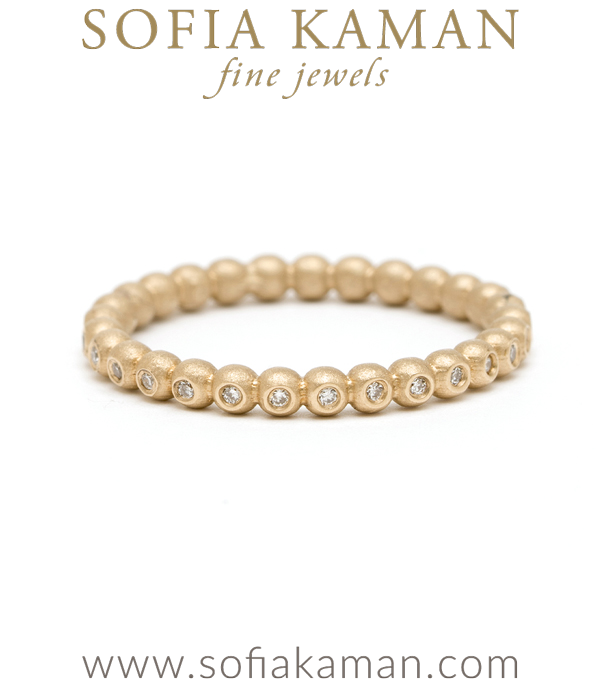 Unique Gold Bubble Diamond Stacking Ring Bohemian Wedding Band designed by Sofia Kaman handmade in Los Angeles using our SKFJ ethical jewelry process.