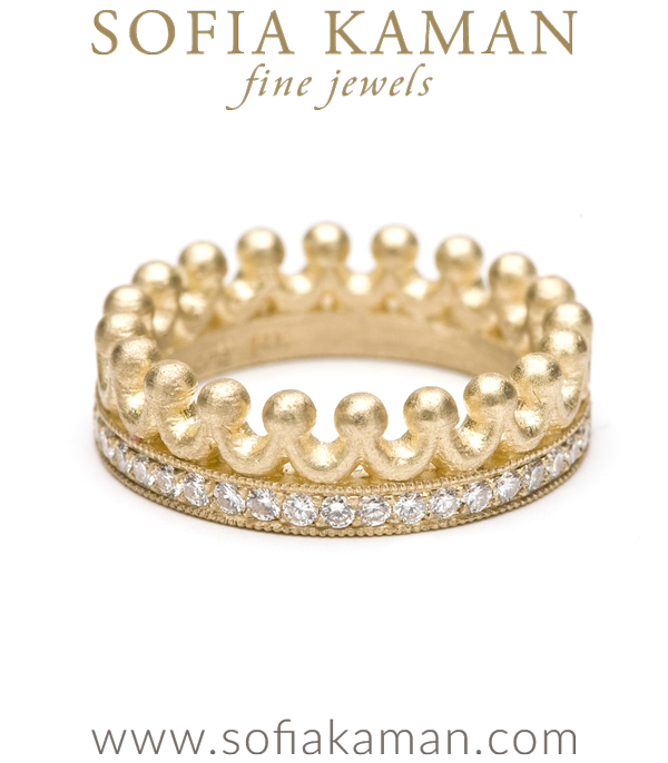 Gold Diamond Crown Boho Stacking Ring designed by Sofia Kaman handmade in Los Angeles