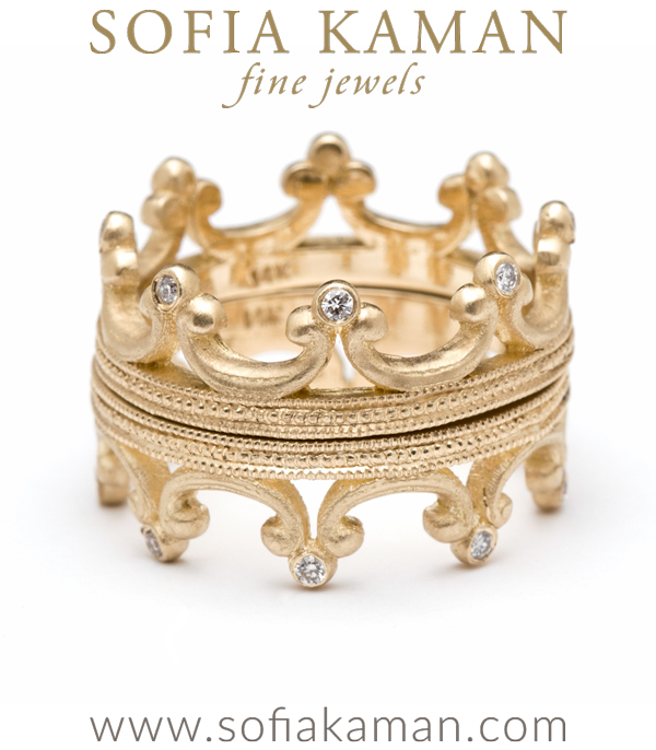 Gold Diamond Tiara Crown Stacking Band