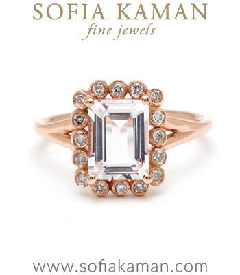Emerald Cut Pink Morganite Bohemian Engagement Ring designed by Sofia Kaman handmade in Los Angeles
