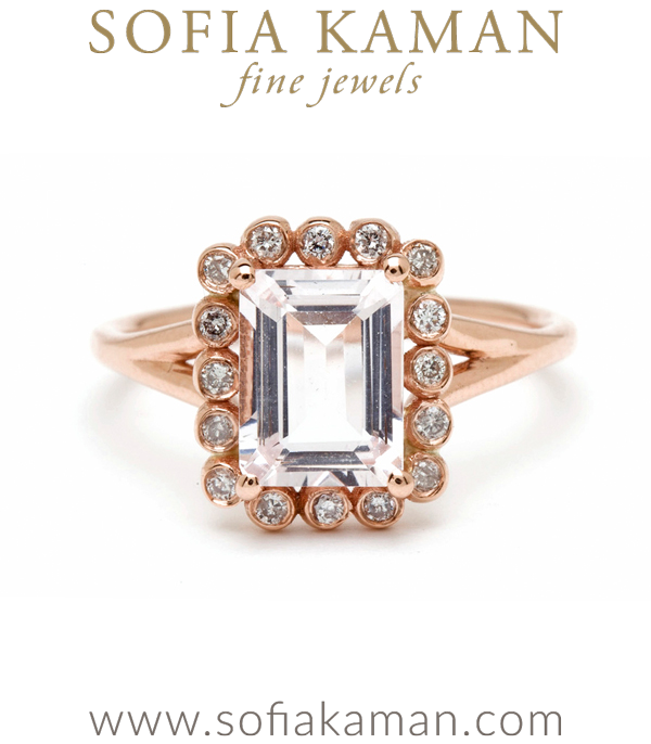 Emerald Cut Pink Morganite Bohemian Engagement Ring designed by Sofia Kaman handmade in Los Angeles using our SKFJ ethical jewelry process.
