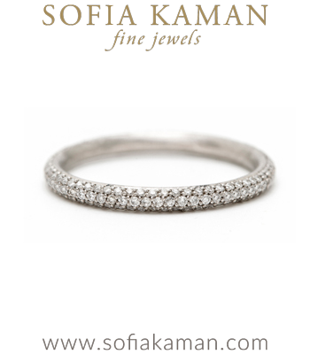 Three Row Pave Diamond Handmade Wedding Band made in Los Angeles