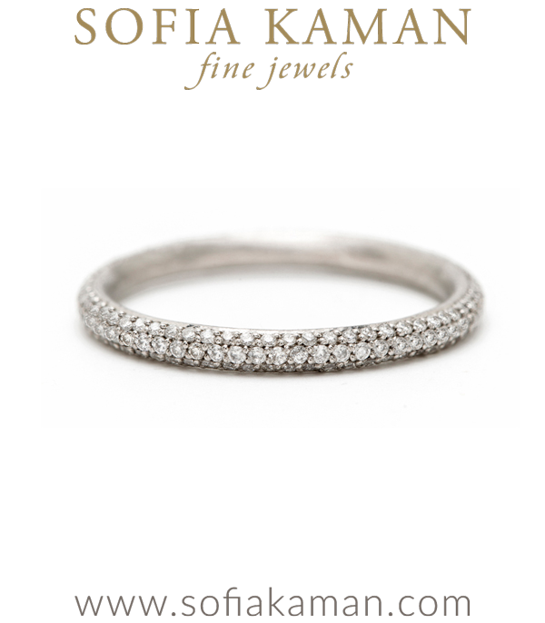 Three Row Pave Diamond Handmade Wedding Band designed by Sofia Kaman handmade in Los Angeles