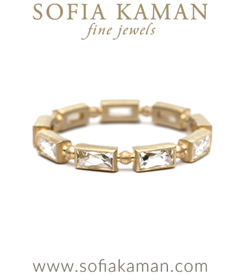 French Cut Baguette Diamond Bohemian Wedding Band designed by Sofia Kaman handmade in Los Angeles