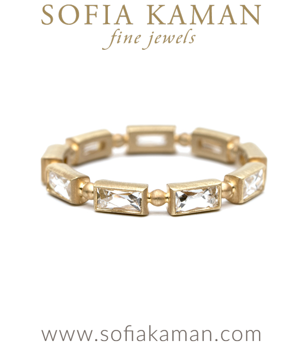 French Cut Baguette Diamond Bohemian Wedding Band designed by Sofia Kaman handmade in Los Angeles using our SKFJ ethical jewelry process.